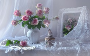 Picture flowers, style, roses, bouquet, mirror, gloves, figurine, lace