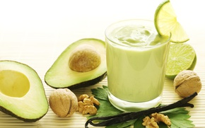 Picture walnut, lime, drink, vanilla, avocado, smoothies