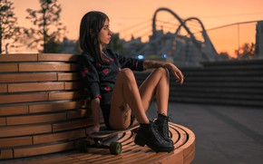 Wallpaper skateboard, feet, tattoo, shoes, mood, girl, the evening, Board, Denis Antipin, pose