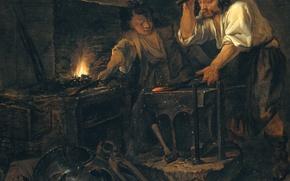 Picture oil, picture, canvas, genre, Gabriel Metso, Gunsmith