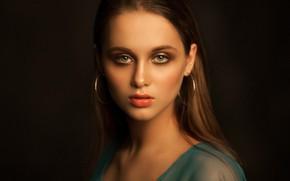 Picture look, face, portrait, the dark background, Anastasia, Yuri Yegorov