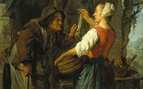 Picture tree, oil, picture, genre, Gabriel Metso, Woman Selling Herring