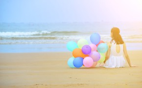Wallpaper sand, sea, beach, summer, girl, the sun, happiness, balloons, stay, colorful, girl, summer, sunshine, happy, ...