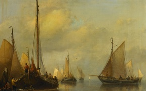 Picture tree, oil, picture, sail, Fishing Boats. Calm Sea, Anthonie Waldorp