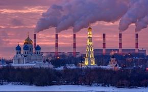 Picture winter, sunset, Moscow, the monastery, Nikolo-Ugreshsky, TETS No. 22 of Mosenergo