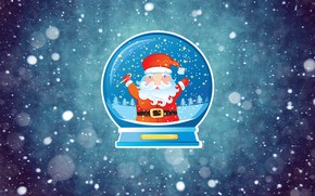 Picture Winter, Minimalism, Snow, Ball, Background, New year, Santa, Frost, Holiday, Santa Claus, Mood, Snow globe, …