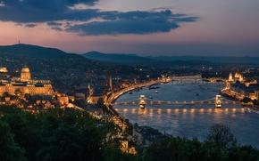 Wallpaper river, panorama, bridges, night city, Hungary, Hungary, Budapest, Budapest, Chain bridge, Danube River, Buda Castle, ...