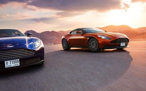 Picture Aston Martin, Orange, Blue, Speed, Supercars, DB11