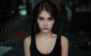 Picture look, girl, face, model, portrait, brunette, beautiful, the beauty, shoulders, eyes, blue-eyed, bokeh, lips, hair, …