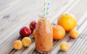 Picture orange, tube, drink, fruit, apricot, peach, Mandarin, bottle, smoothies