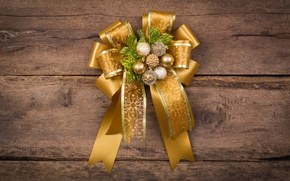 Picture New Year, Christmas, bow, wood, merry christmas, decoration, xmas, fir tree