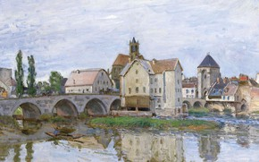 Picture bridge, house, river, picture, the urban landscape, Alfred Sisley, Alfred Sisley, Moret-sur-Loing. Cloudy Weather