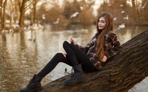 Picture water, girl, smile, pond, tree, mood, sweetheart, street, shoes, shirt, brown hair, beautiful, Karina Kozyreva