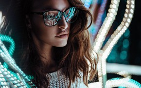 Picture lights, girl, long hair, photo, photographer, brown, model, bokeh, lips, face, reflection, glasses, portrait, mouth, ...