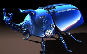 Picture blue, metal, color, beetle, 3Ds