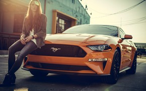 Picture mustang, girl, ford mustang, orange, jeans, redhead