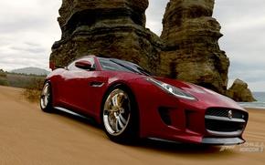 Picture sand, machine, auto, beach, the ocean, rocks, shore, Jaguar, jaguar, games, horizon, forza