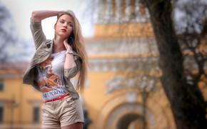 Wallpaper bokeh, urban, lips, portrait, long hair, model, blonde, hand in hair, looking away, lipstick, red ...