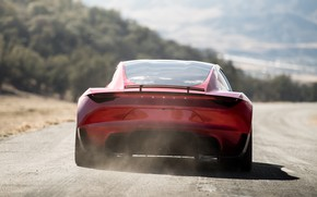 Wallpaper Tesla, rear view, Roadster, 2020