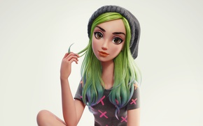 Picture hat, hand, girl, grey background, green hair, art, big eyes, knitted, Nazar Noschenko
