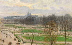 Picture landscape, the city, Park, Paris, picture, Camille Pissarro, The Gardens Of The Tuileries On A …
