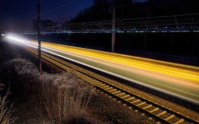 Wallpaper railroad, night, lights