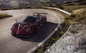 Picture Pagani, Car, Zonda, Burgundy, 2017, Ghost Evo