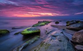 Wallpaper sunset, landscape, nature, beautiful, seascape, pink, beach, nature, sunrise, rocks, sunset, sea, pink, sea, shore, ...