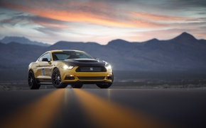 Wallpaper road, the sky, light, sunset, mountains, lights, Mustang, Ford, the evening, Shelby Terlingua