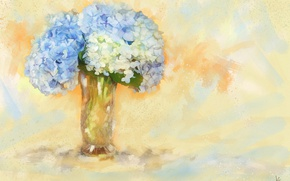 Picture flowers, background, figure, graphics, treatment, bouquet, light, picture, blue, art, vase, painting, gently, drawing, strokes, …