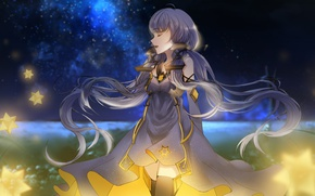 Picture the sky, girl, stars, night, anime, art, vocaloid china, xingchen, small light