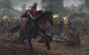 Wallpaper forest, castle, horse, tower, battle, Battle, knights