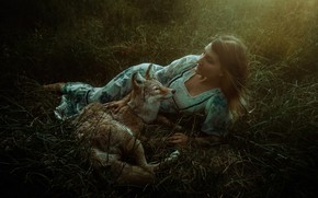 Picture girl, wolf, dress, coyote, TJ Drysdale, No More Fear