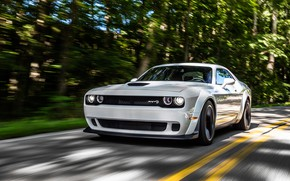 Picture speed, Dodge, Challenger, 2018, Hellcat, SRT, Widebody