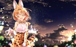Picture girl, anime, night, tail, pretty, asian, japanese, bishoho, Kemono Friends