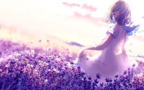 Wallpaper happiness, flowers, nature, schoolgirl, by lluluchwan