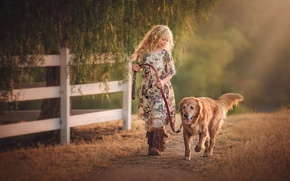 Picture dog, girl, Edie Layland, Country Girl With Dog