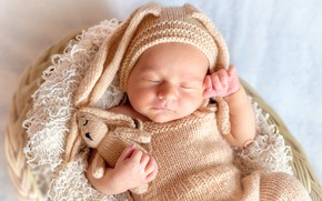 Picture toy, child, sleep, baby, costume, sleeping, Bunny, basket, cap, baby, Newborn