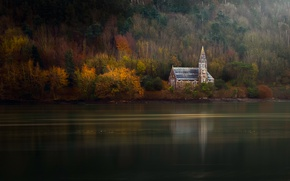 Picture autumn, trees, river, Church, forest