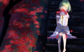 Picture ladder, girl, red, green hair, closed eyes, sailor, sitting on the stairs, lluluchwan, licorice