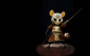 Wallpaper children's, art. mouse, sword