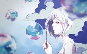 Picture girl, clouds, bubbles, by mochidukirei