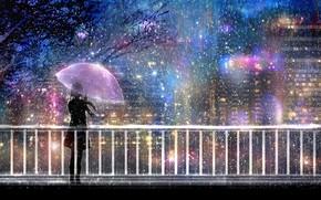 Picture light, night, bridge, the city, lights, rain, umbrella, silhouette, girl