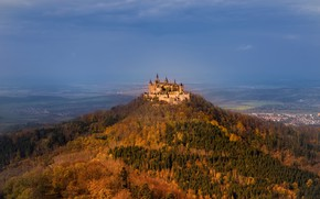 Picture autumn, forest, castle, mountain, Germany, valley, panorama, Germany, Baden-Württemberg, Baden-Württemberg, Hohenzollern Castle, Mount Hohenzollern, The …