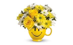 Wallpaper chrysanthemum, bouquet, roses, vase