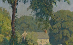 Picture trees, landscape, house, picture, Daniel Garber, Summer silence