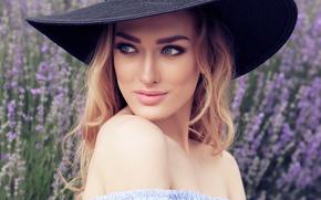 Picture look, girl, model, portrait, makeup, blonde, hat, lavender, manicure