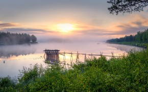 Picture fog, morning, river