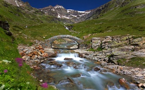 Wallpaper Valle d'aosta, mountains, river, Italy, bridge