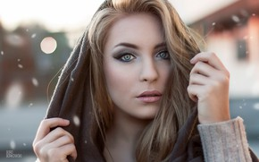Picture look, the sun, glare, background, model, portrait, makeup, hairstyle, blonde, beauty, shawl, bokeh, Angelica, Paul …